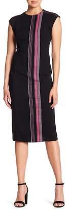 Rachel Roy Cap Sleeve Tweed Stripe Midi Dress