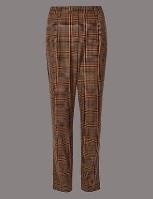 Autograph Wool Blend Checked Slim Leg Trousers