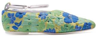 Jil Sander Floral Ankle Strap Ballet Flats - Womens - Green Multi