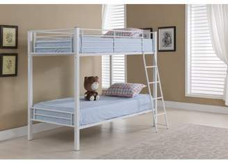 Rails Pilaster Designs Donna Twin Size White Metal Traditional Bunk Bed With Guard Twin Over Twin Bunkbed)