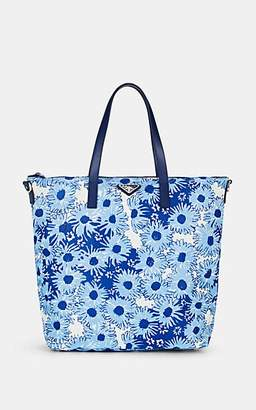 Prada WOMEN'S LEATHER-TRIMMED FLORAL TOTE BAG-BALTICO DIS. MARGHERI,