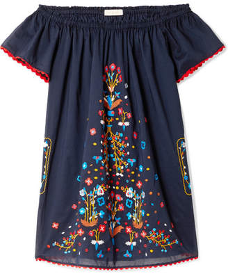 Tory Burch Wildflower Off-the-shoulder Embroidered Cotton-voile Mini Dress - Midnight blue