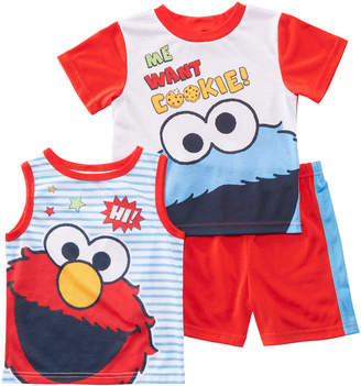 AME Toddler Boys 3-Pc. Sesame Street Graphic Pajamas Set