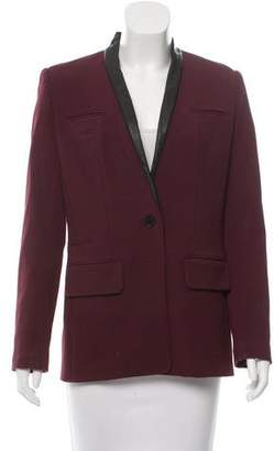 Yigal Azrouel Leather-Trimmed Single-Button Blazer