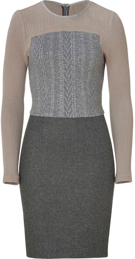 L'Agence LAgence Beige/Grey Colorblocked Wool-Blend Dress