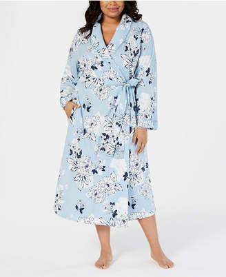 Charter Club Plus-Size Printed Soft Knit Cotton Long Robe 9817a1b6d