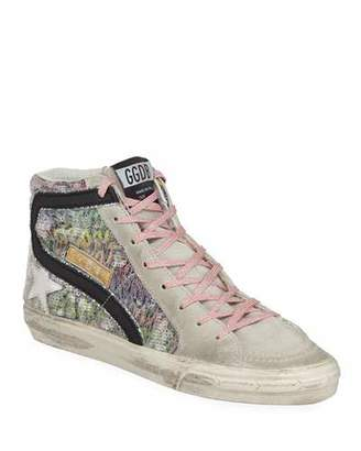 Golden Goose Slide High-Top Sequin Suede Sneakers