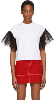 MSGM SSENSE Exclusive White Tulle Sleeves T-Shirt