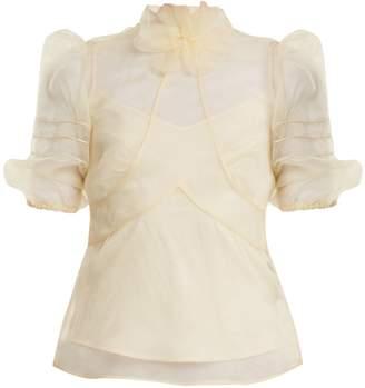 RED Valentino High-neck silk-organza top