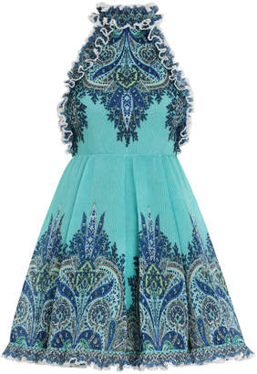 Zimmermann Moncur Ruffle Neck Mini Dress