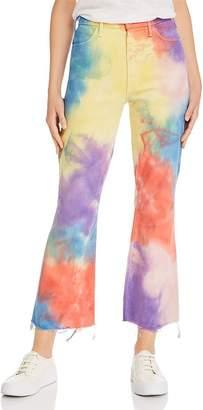 Mother Hustler Tie-Dye Ankle Fray Flared Jeans in Mystical AF