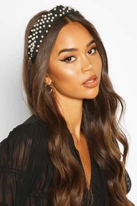 boohoo Premium Pearl Embellished Knot Headband