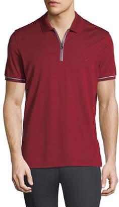 Salvatore Ferragamo Men's Tipped Zip-Up Polo Shirt