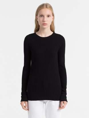 Calvin Klein slim fit cotton silk rib sweater