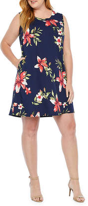 Alyx Sleeveless Floral Shift Dress-Plus