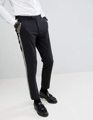Asos Design DESIGN skinny tuxedo suit pants in black with gold honeycomb effect side stripe