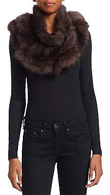 The Fur Salon Women's Knitted Sable Fur Infinity Scarf