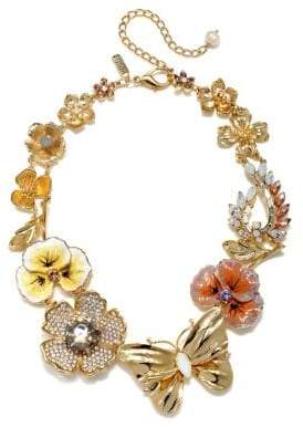 Badgley Mischka 8-10MM White Oval Pearl and Swarovski Crystal Floral Necklace