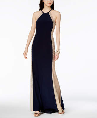 Xscape Evenings Mesh-Side Halter Gown
