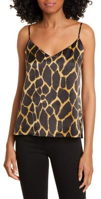L'Agence Jane Giraffe Print Silk Camisole