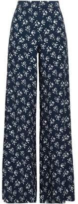 Lover Floral-print Crepe-satin Wide-leg Pants