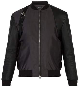 Alexander McQueen Harness Leather Trimmed Bomber Jacket - Mens - Black