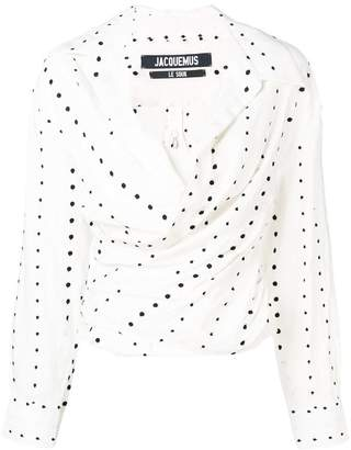 Jacquemus polka-dot ruched blouse