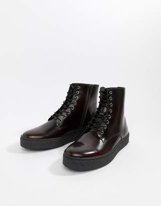 Zign Shoes cupsole lace up boots in burgundy high shine