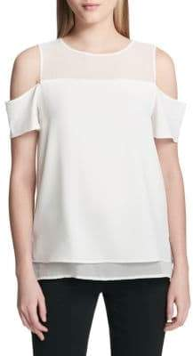 bca445f4a47700 at Off 5th · Calvin Klein Layered Cold-Shoulder Top