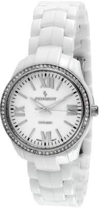 Peugeot Women's PS4901WT Swiss Ceramic Swarovski Crystal White Dial Watch
