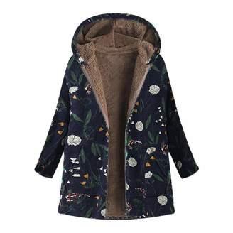 CieKen Coats Long Coats, Womens Winter Warm Outwear Floral Print Hooded Pockets Vintage Oversize Coats,Women's Activewear