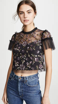 Needle & Thread Carnation Sequin Top