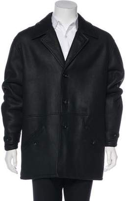 Giorgio Armani Leather Button-Up Coat