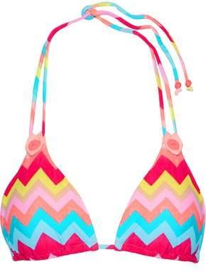 Seafolly Button-Detailed Printed Triangle Bikini Top