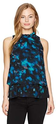 Ellen Tracy Women's Petite Size Mixed Print Overlay Shell