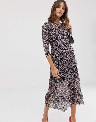 New Look mesh midi dress in ditsy floral print 4798a4036