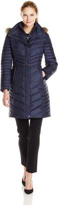Andrew Marc by Women's Karla Mid Length Chevron Down Coat