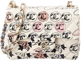 Chanel White Canvas Mini Flap Bag