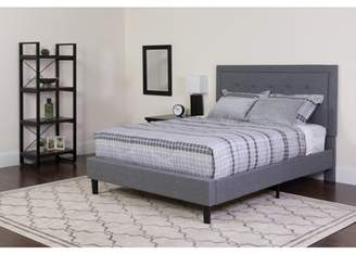 BEIGE Flash Furniture Roxbury Tufted Upholstered King Size Platform Bed in Light Gray Fabric