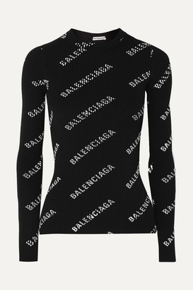 Balenciaga Printed Ribbed-knit Top - Black