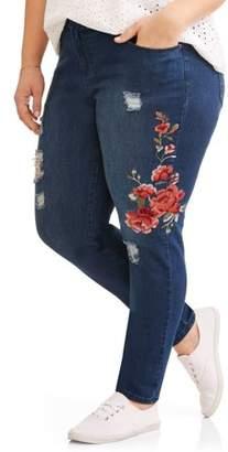Cherokee Women's Plus Embroidered Fashion Jean
