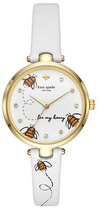 Kate Spade Honeybee Goldtone Leather Holland Watch