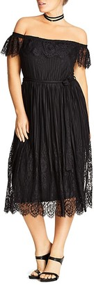 City Chic Off The Shoulder Lace Dress $119 thestylecure.com