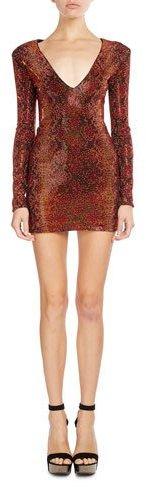 BalmainBalmain Python-Print Long-Sleeve V-Neck Dress, Orange/Black