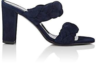 Barneys New York Women's Suede Double-Band Mules - Navy
