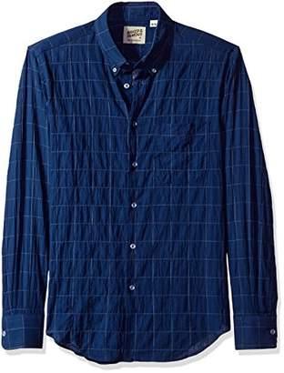 Naked & Famous Denim Men's Lightweight Windowpane Long Sleeve Button Down Shirt