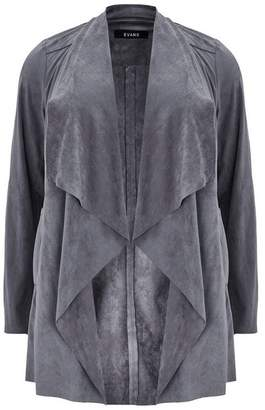 Evans Grey Suedette Jacket