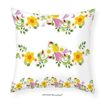 "Laurèl VROSELV Custom Cotton Linen Pillowcase Daffodil Decor Horizontal Leaf and Flower Motifs Fairy Mother Earth Habitat Gardening Theme Design Bedroom Living Room Dorm Decor 14""x14"