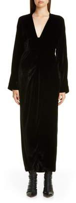 Zero Maria Cornejo Nadja Velvet Long Sleeve Maxi Dress