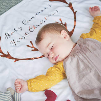Sparks And Daughters Personalised Antler Baby Blanket